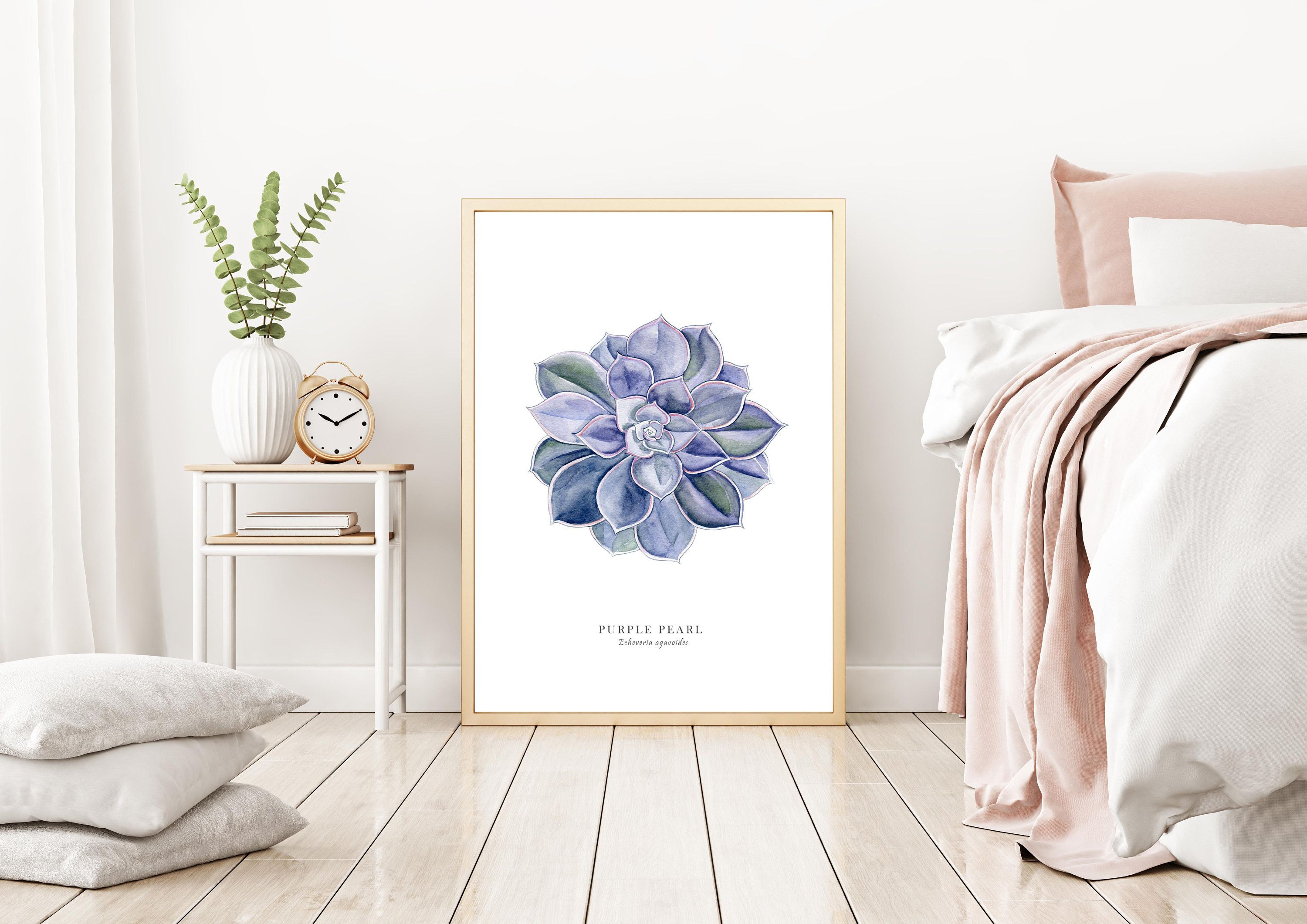 Purple Succulent Painting, Botanical Wall Art, Living Room Art, Home