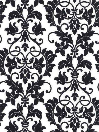 Black And White Damask Wallpaper Damask Wallpaper Flock Wallpaper Wallpaper