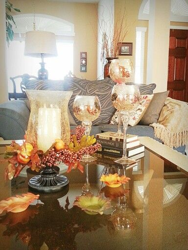 Fall decorations - I will use pumpkin scented tea lights in the three leaves.   I've had them for many years (from Home Interior).