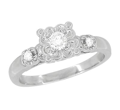 4207056d79a95 1950's Platinum Retro Moderne Lucky Clover Diamond Engagement Ring ...