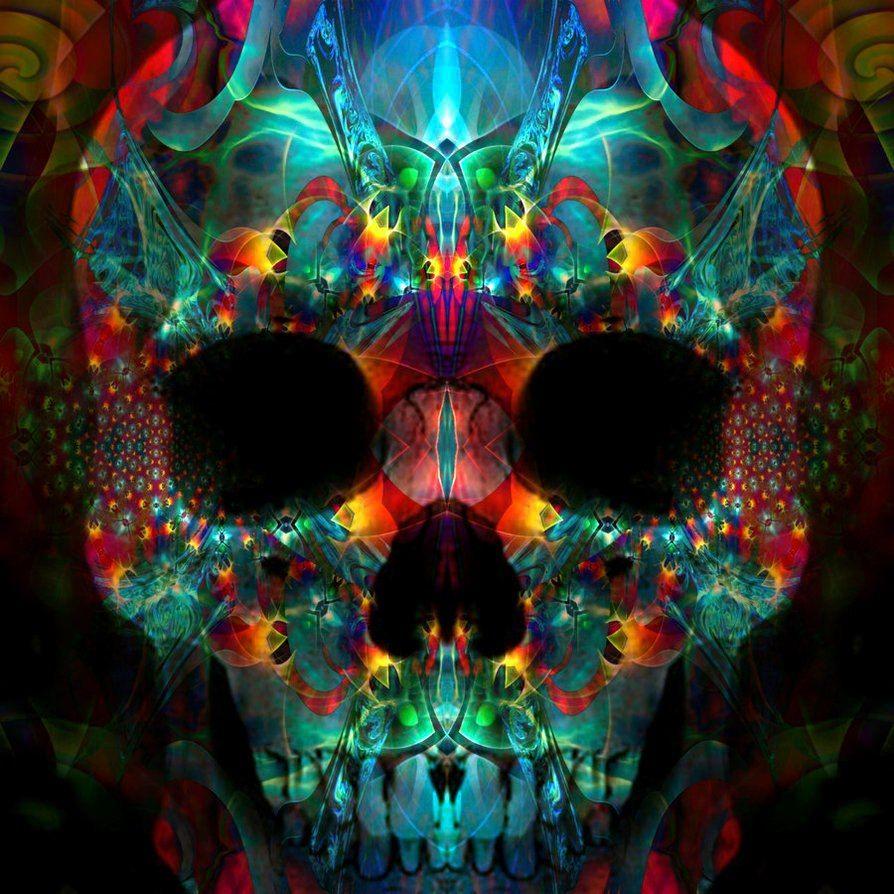 Trippy Skull Wall Art Colorful Skulls