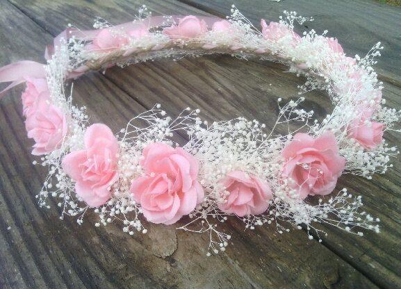 Headband crown wedding beads and light pink white flowers