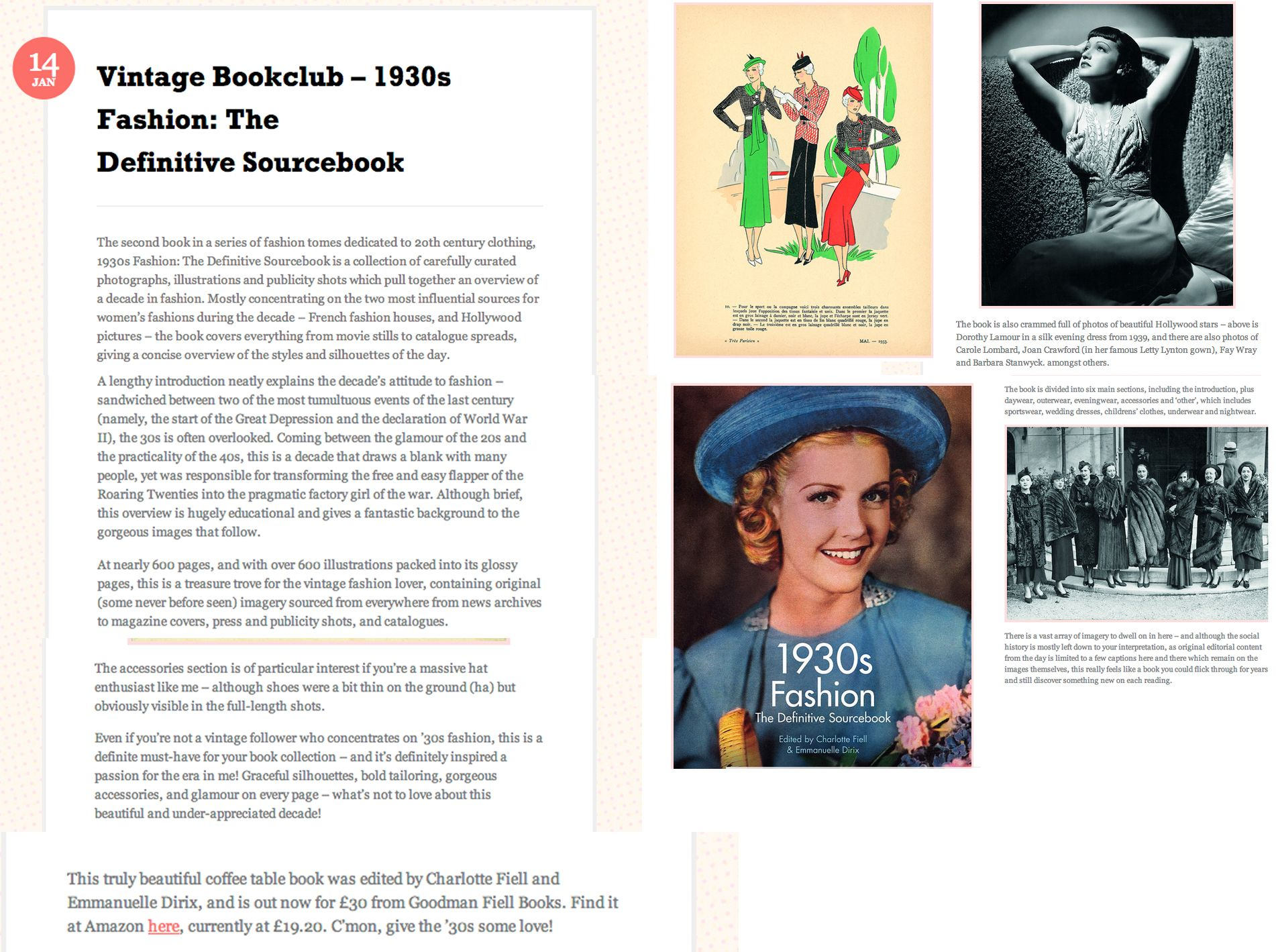 1930s Fashion: The Definitive Sourcebook, Food Fash Fit blog review