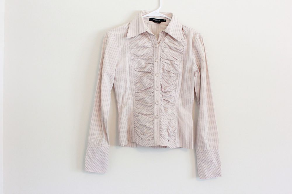 Arden B Women's Pink Striped Flared Button Up Professional Casual Shirt Top XS #ArdenB #ButtonDownShirt #EveningOccasion