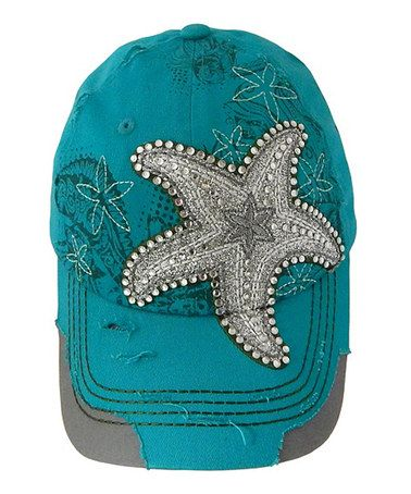 Loving this Turquoise Starfish Distressed Embellished Baseball Cap on   zulily!  zulilyfinds d04606ab4d84