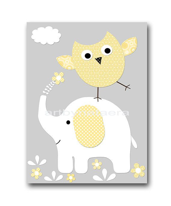Elephant Nursery Owl Nursery Children Art Print Kids Wall Art Kids ...