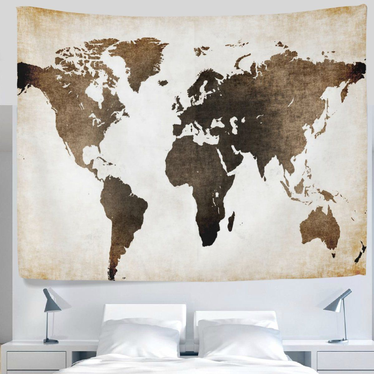 Alaza Antique Old Fashioned Retro Vintage World Map Tapestry Wall Hanging Decor Light Weight Polyester Fabric C World Map Tapestry Dorm Wall Art Old World Maps
