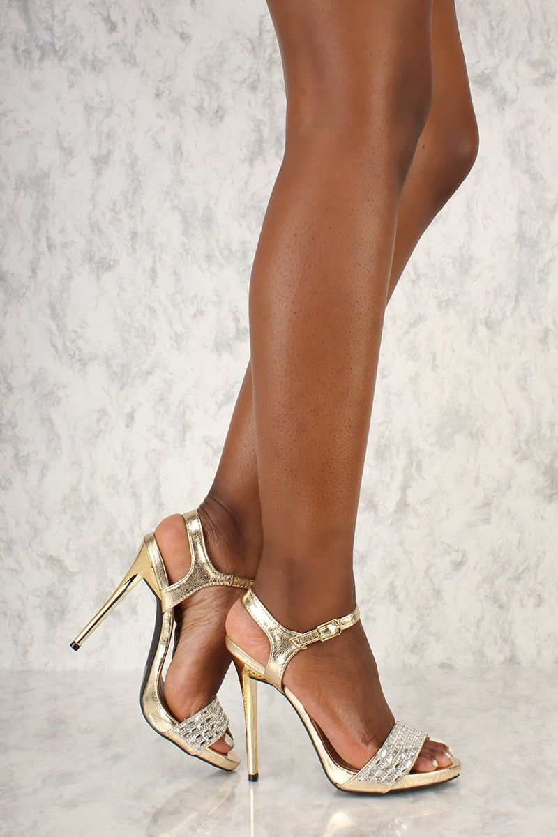 a5af984af1e Gold Rhinestone Beaded Open Toe High Heels Metallic Crinkle Faux Leather