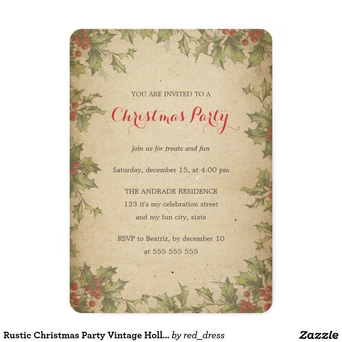 Rustic Christmas Party Vintage Holly Wreath Border Card | Christmas ...