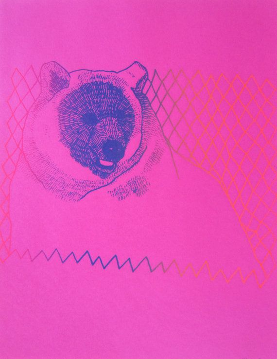 Big Gay Bear Silkscreen On Colored Paper Fluorescent Printing Ink Bright This Listing Is For ONE Print Like Pictured Here Two