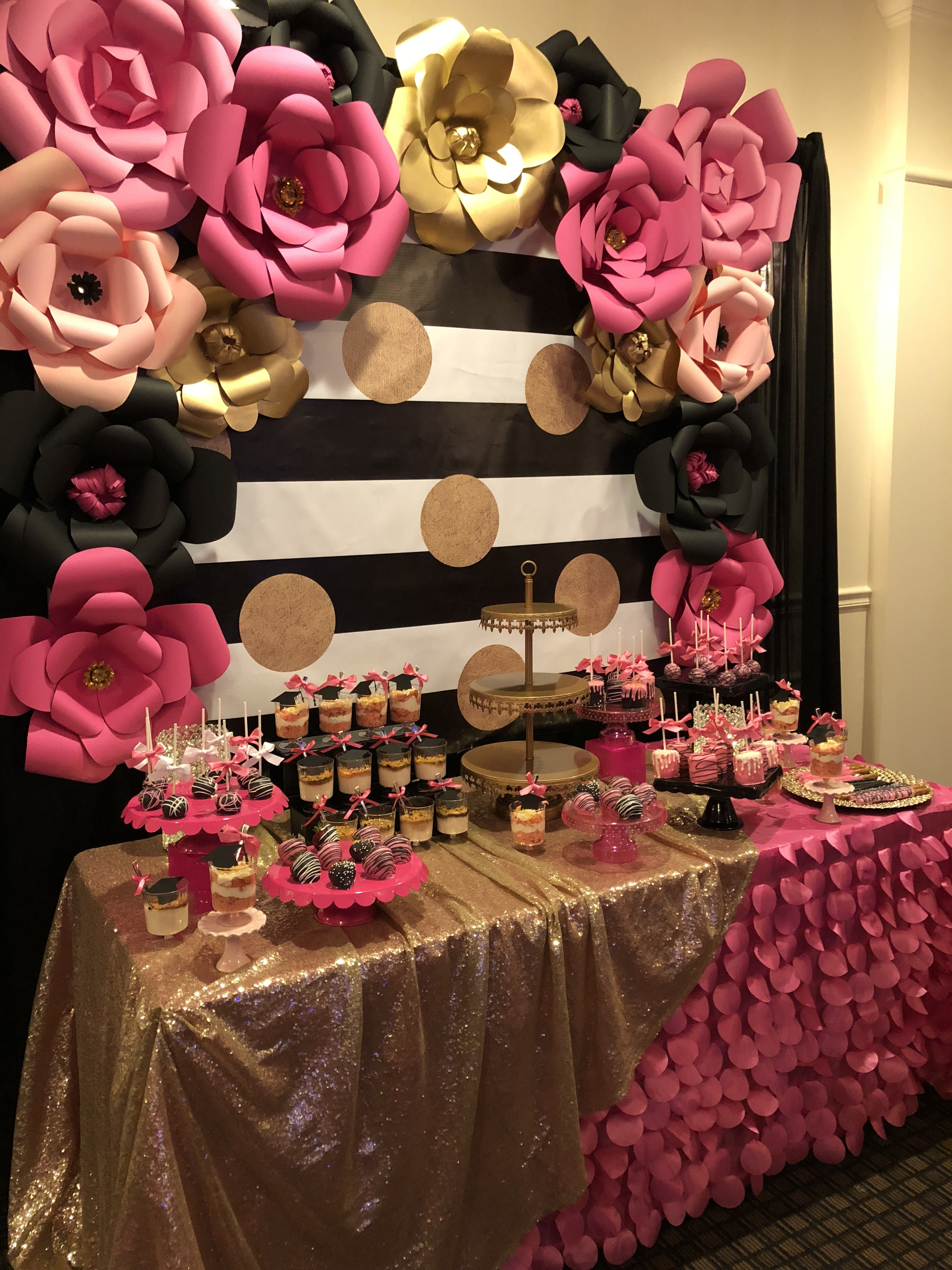 Kate Spade Themed Dessert Table Hot Pink Black White And Gold