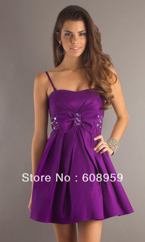 Vestido morado corto. | Mujeres, moda, diseño, belleza. | Pinterest ...