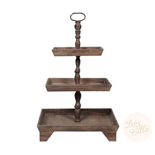 Rectangular 3 Tier Wooden Rustic Country Style Buffet Display Stand