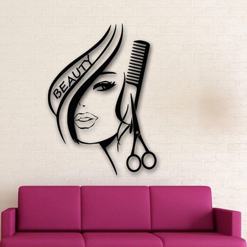 Removable Hair Beauty Salon Barbershop Sexy Girl Wall Decoration