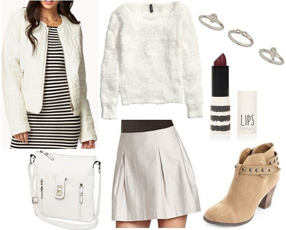 Product Info: Jacket- Forever 21, Sweater- H&M, Rings- Topshop, Bag- JCPenney, Skirt- Lord & Taylor, Lipstick- Topshop, Shoes- Charlotte Russe