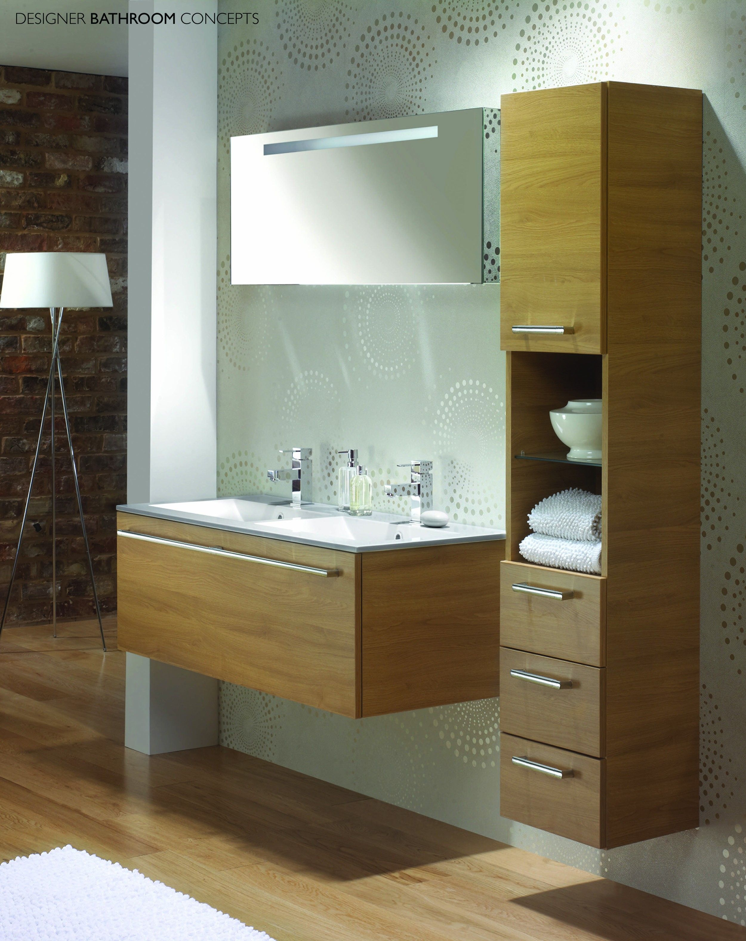 Http://tovtov.com/wp Content/uploads/furniture Bathroom  Modern Brown Plywood Floating Vanity With Double White Washbasin And Freestanding To.