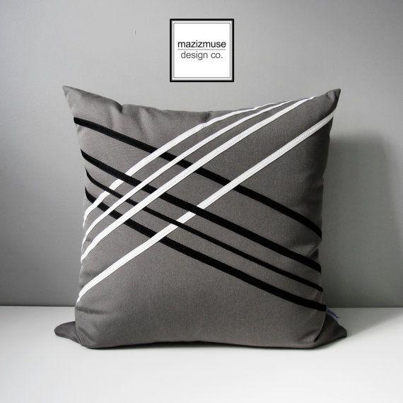 Grey Outdoor Pillow Cover Black White Geometric Lattice Modern