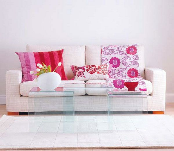 White Pink Living Room with Acrylic Table:)   For the Home ...