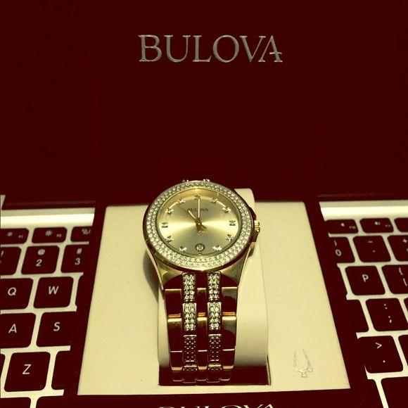 Bulova Men's Watch Crystal Yellow-Gold Tone 98B174 Bulova Accessories Watches