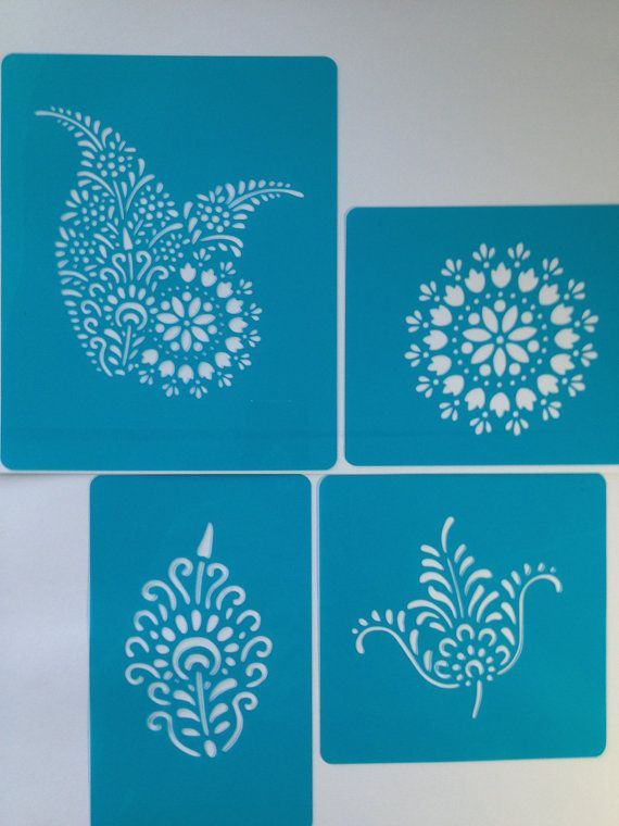Printable Henna Stencils Henna Mehndi Cake Stencils Deco Kit 4