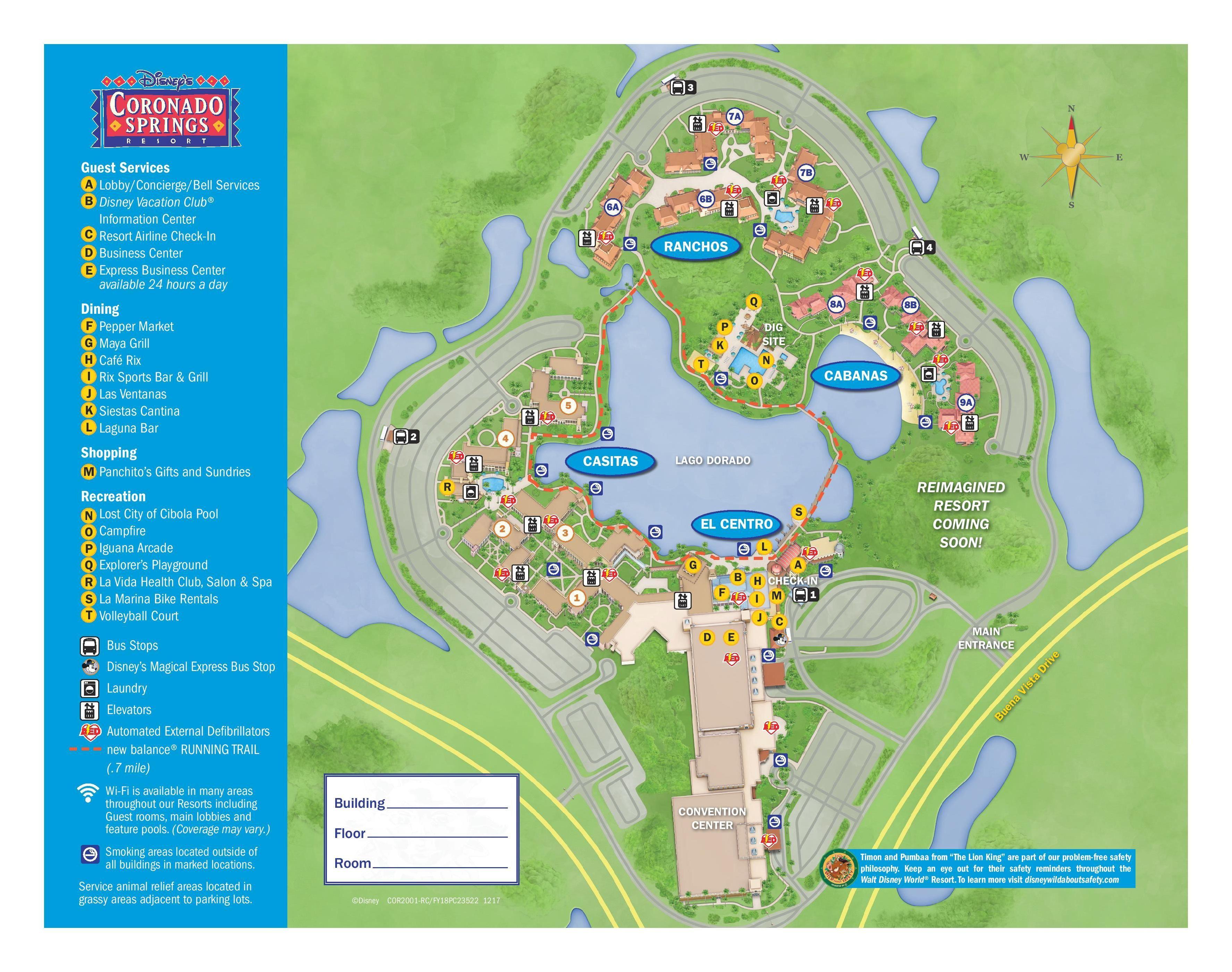 Coronado Springs Map Resort map without cabana 9b #coronadosprings