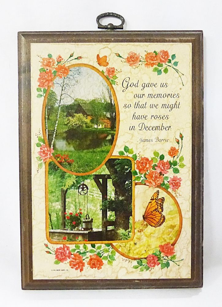 Hallmark plaque farm house on lake picture wood vintage wall decor ...