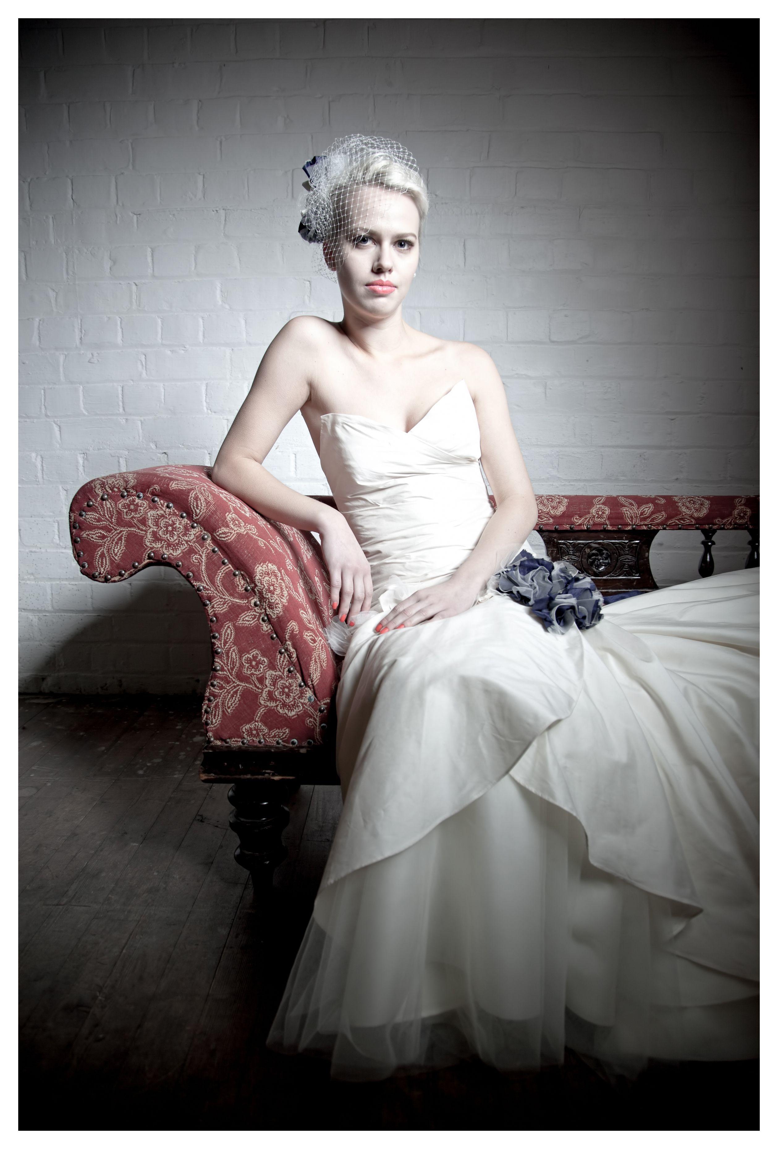 Gemma Sargent Essence Bridal Gown and Birdcage Veil. Designed and ...