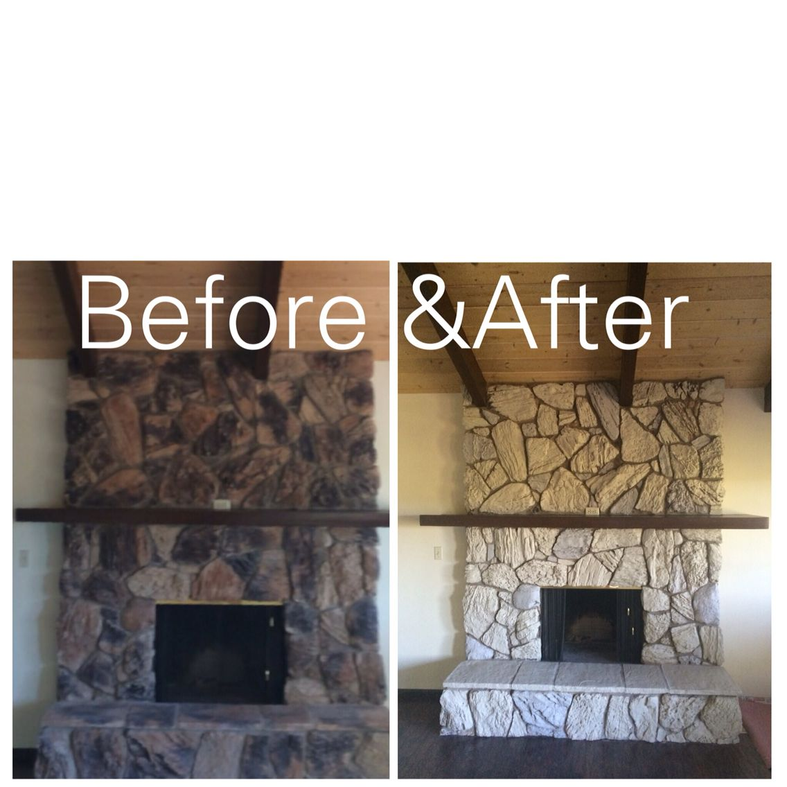 Here S An Inexpensive Way To Update Ugly Rock Fireplace From The 80 2 Colors Of Paint Were Used Benjamin Moore Glacial Till And Valspar Montpelier