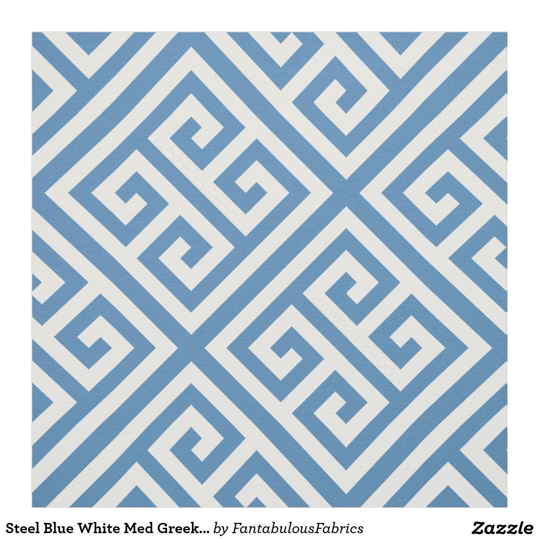 Steel Blue White Med Greek Key Diag T Pattern 1 Fabric
