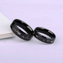 feel your heartbeat tungsten couples rings in black cosas para