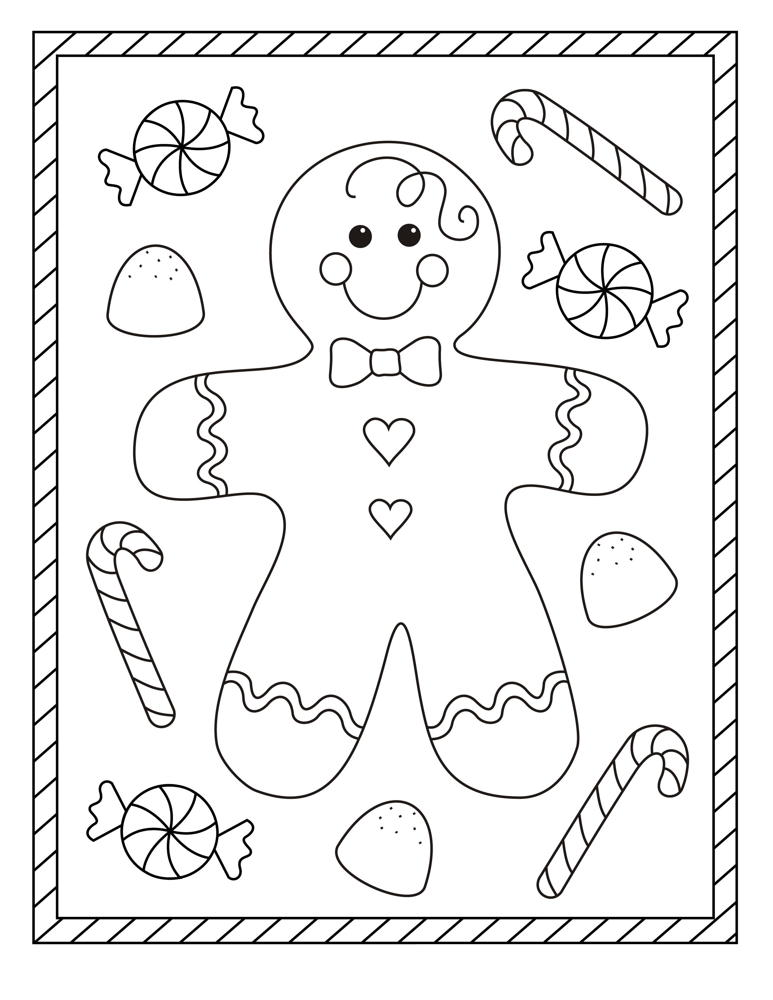 Ginger bread boy Coloring page for kids Free christmas