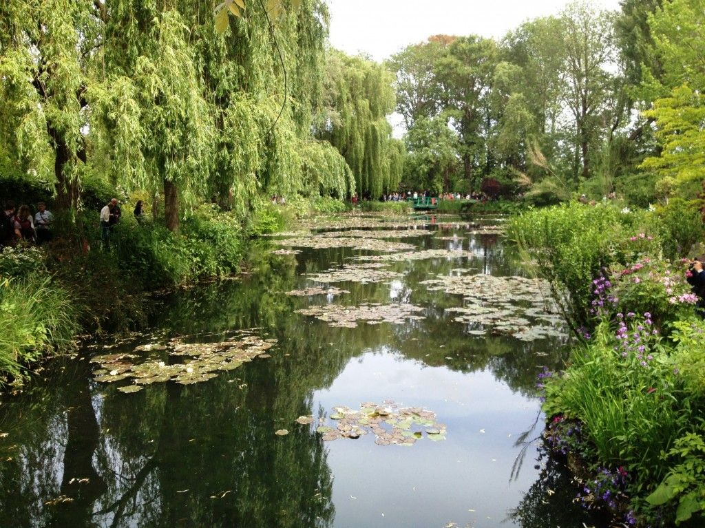 View of the water lilies pond from the Japanese bridge in Monet's Gardens