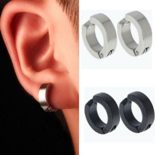 Non Piercing Clip On Fake Men Boy Ear Stud Cuff Hoop Earrings Stainless Steel No Silver Black China Fashion