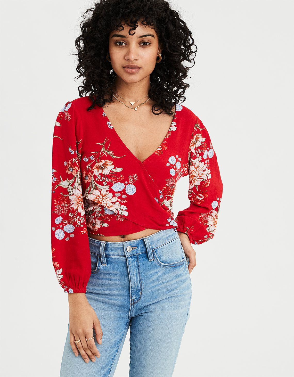 b2fde43098f AE Wrap Front Long Sleeve Top, Red in 2019   Clothes and Bathing ...