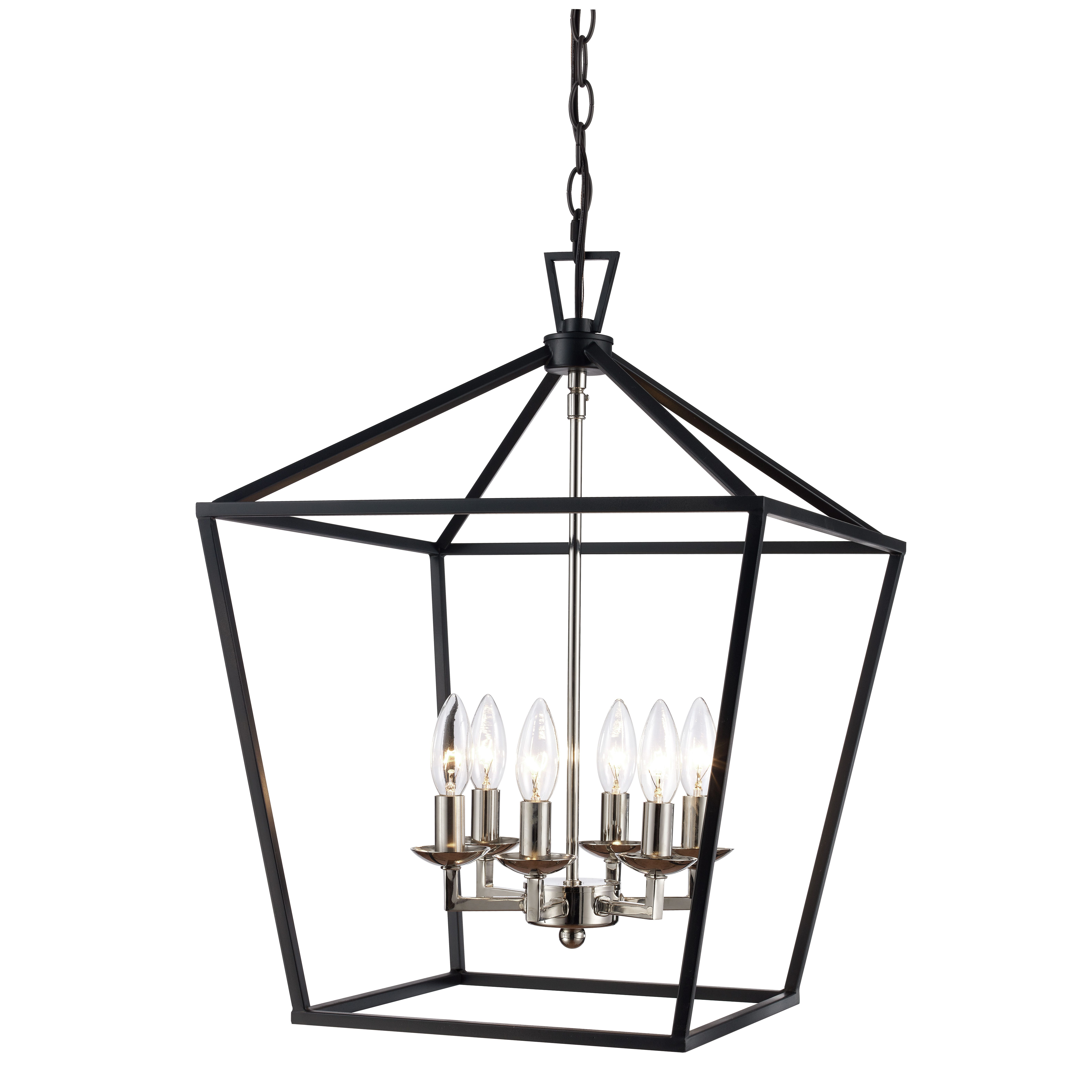 Bel Air Lighting Lacey Polished Chrome And Black Pendant