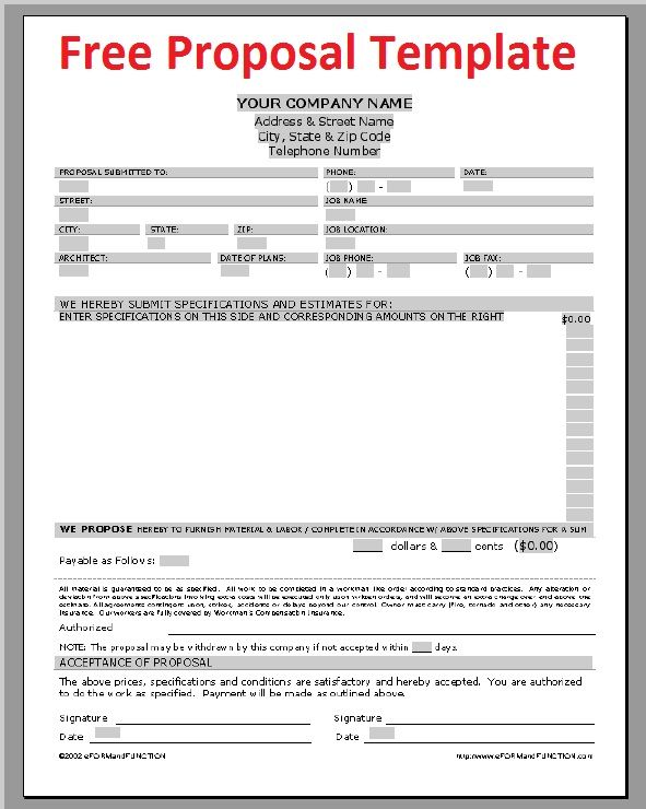 Printable sample construction proposal template form for Software project proposal template word