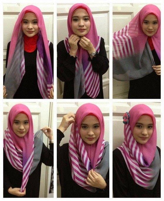 Kumpulan Gambar Tutorial Hijab Segiempat Sederhana Terbaru