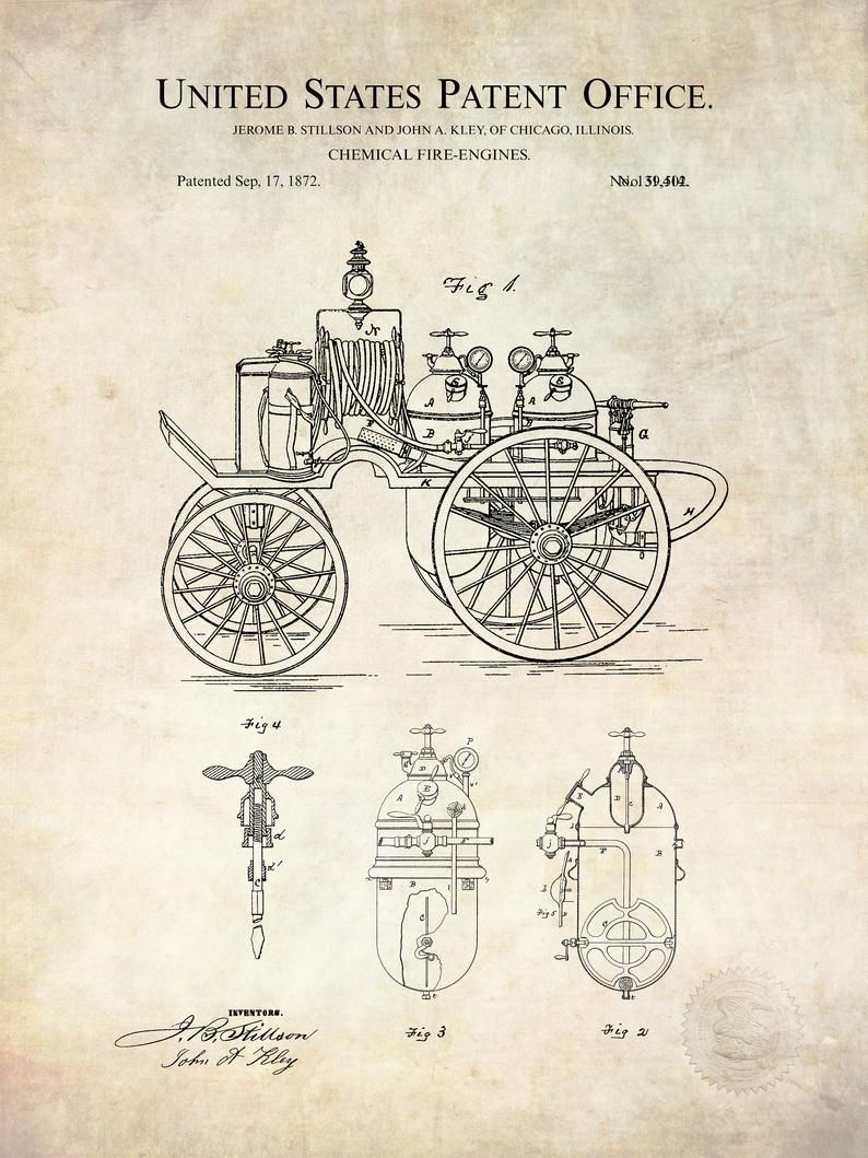USA Patent Drawing vintage chemical FIRE ENGINE horse drawn MOUNTED PRINT 1872