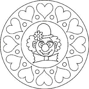 mandala - clown sydämen | ausmalbilder, ausmalbilder