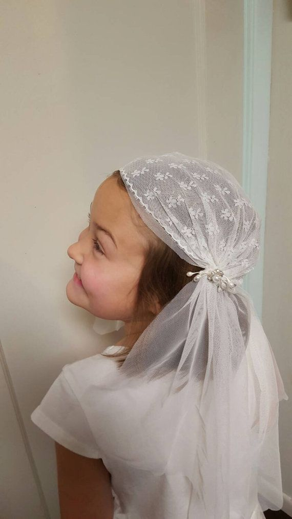 First  Communion Veil Vintage Inspired Cap by SaongJai on Etsy