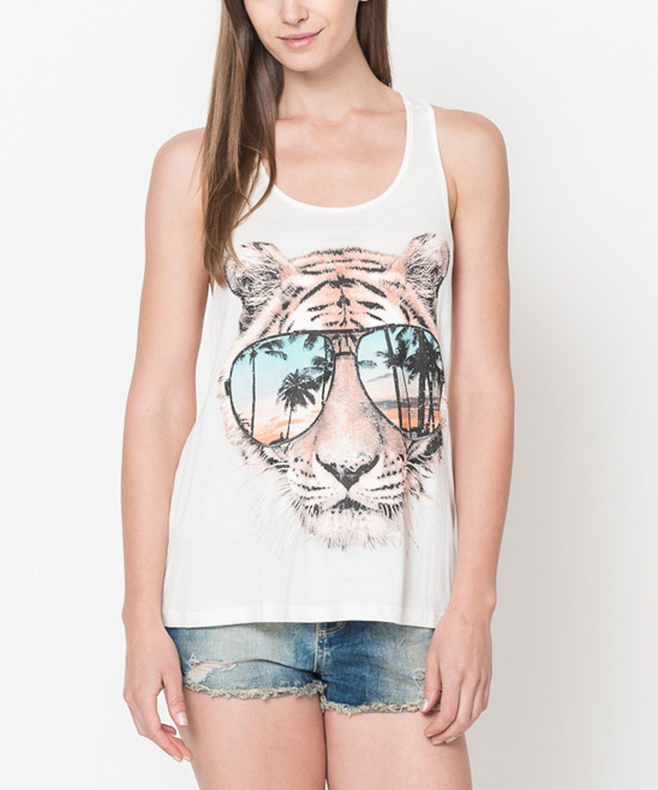 Another great find on #zulily! Caralase Ivory Tiger Tank - Women by Caralase #zulilyfinds