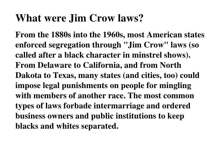 jim crow laws Social Work – Jim Crow Laws Worksheet