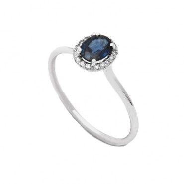 Λεπτό σικ πολύτιμο δαχτυλίδι ροζέτα λευκόχρυσο Κ18 με κεντρικό οβάλ ορυκτό  μπλε ζαφείρι και διαμάντια γύρω 485cc93dfeb