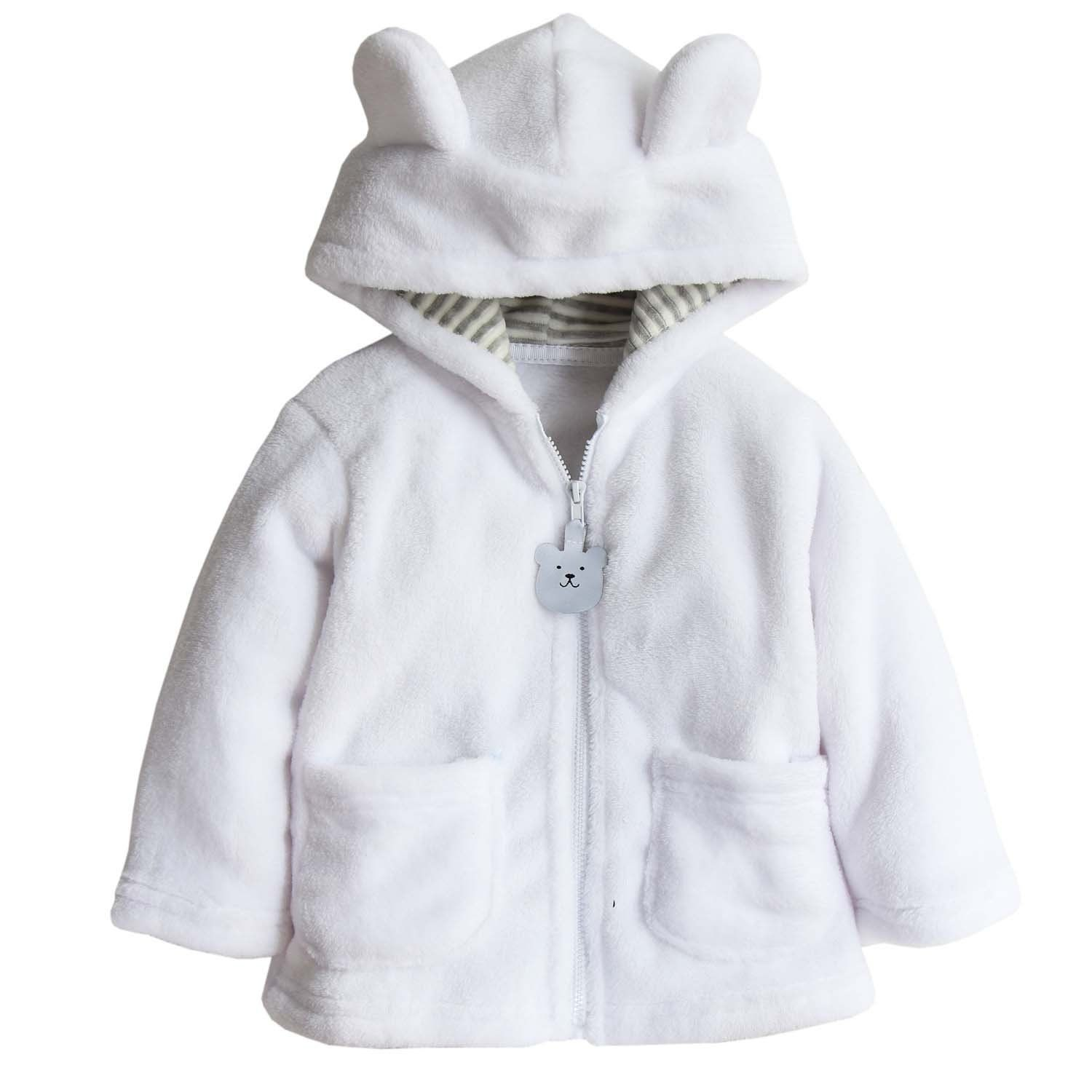 014e827abe11 Toddler Baby Boys Girls Cartoon Fleece Hooded Jacket Coat with Ears ...