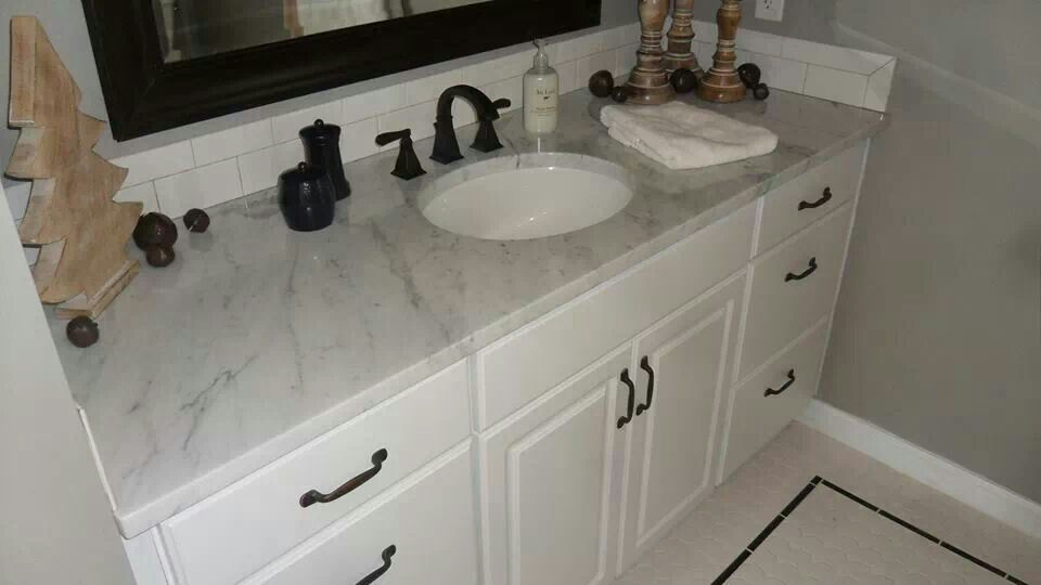 New Marble Top And Vanity With White Subway Tile