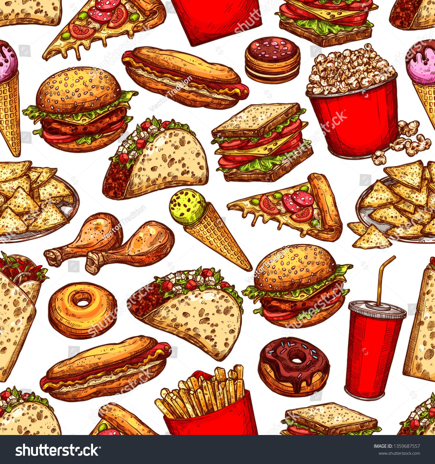 2aa946bfaf9c Fast food background with vector seamless pattern of burger, hot dog ...