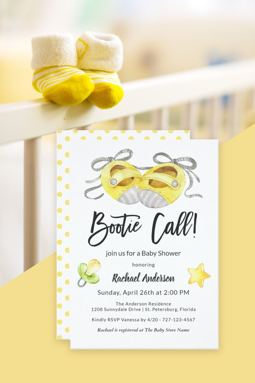 Bootie Call Whimsical Yellow Baby Shower Invitation Zazzle Com