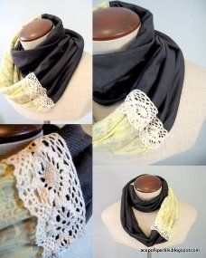 Tutorial: Jersey and lace infinity scarf · Sewing | CraftGossip.com