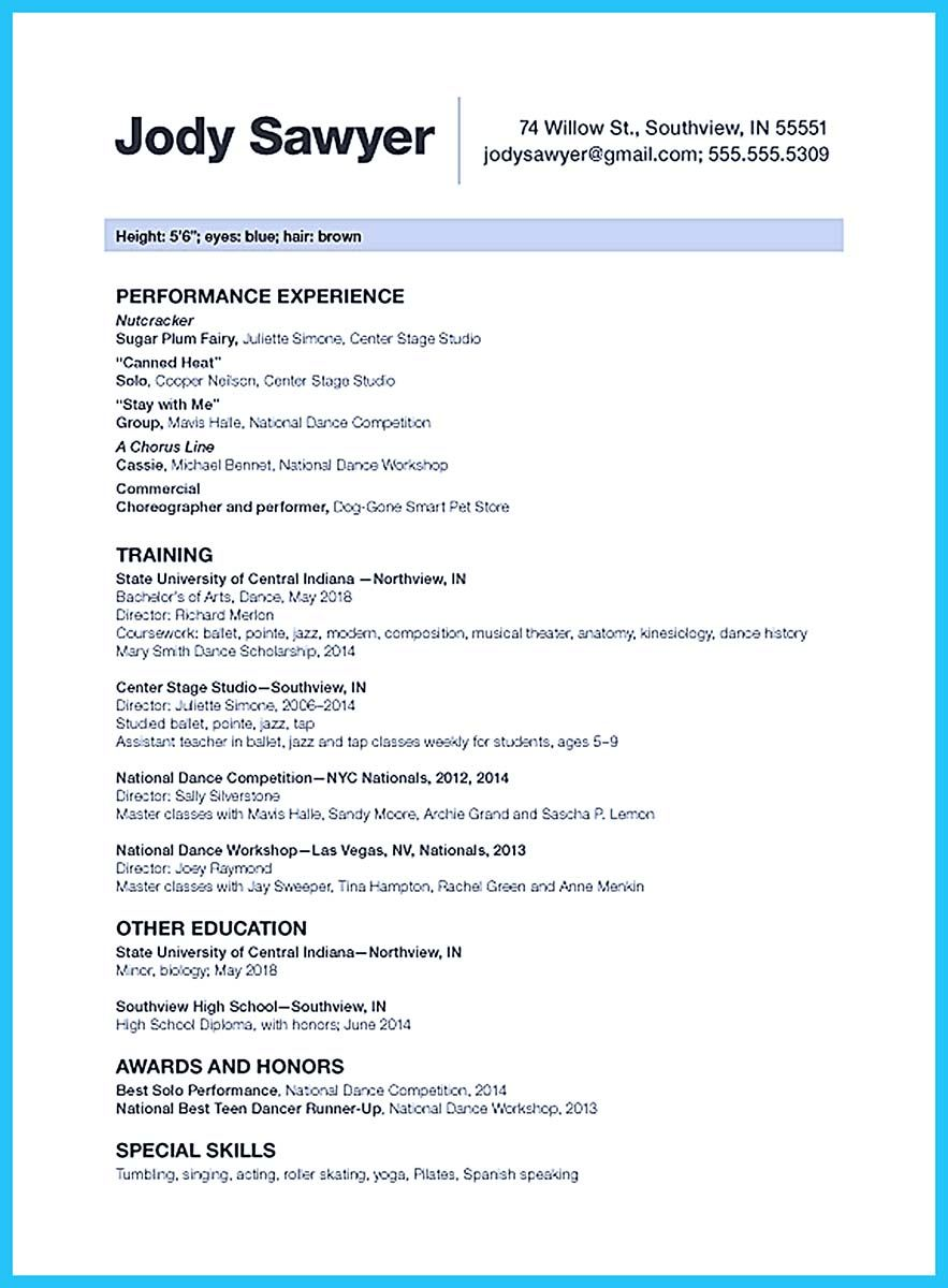 nice the best and impressive dance resume examples collections - Dance Resume Templates