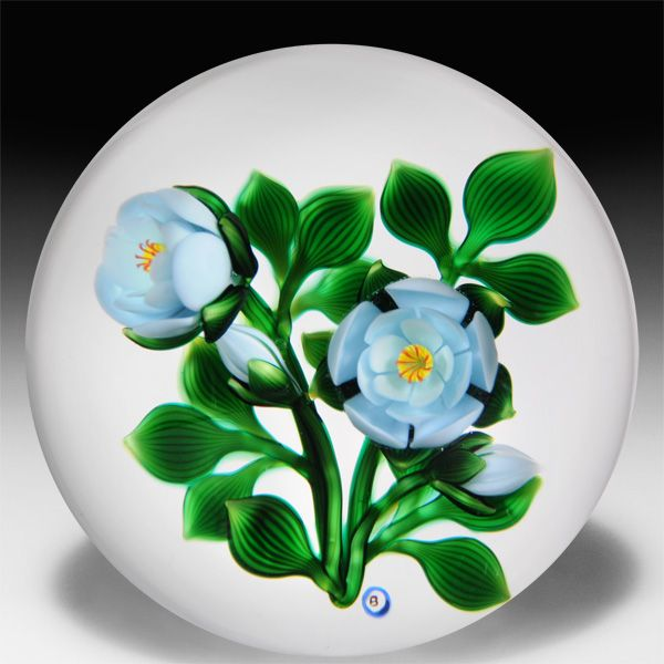 Bob Banford aqua roses and buds on the vine paperweight. by Bob Banford  $980